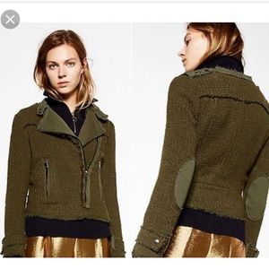 ZARA Double Breasted Military Tweed Moto Jacket